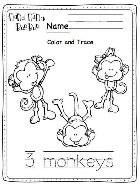 monkey coloring page preschool free coloring pages of five little monkeys
