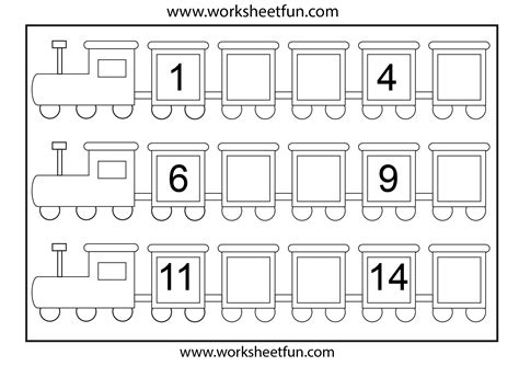 printable numbers sheets preschool missing number worksheets number train