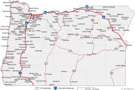 map of oregon cities road maps of washington oregon and california