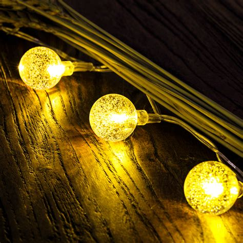 50 led solar outdoor string lights globe string