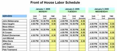 restaurant schedule planner amp writer restaurant resource