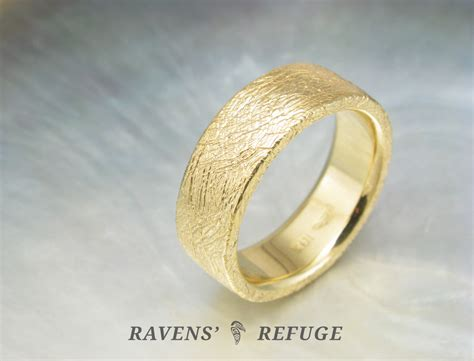 thick gold wedding band chunky gold ring ravens refuge