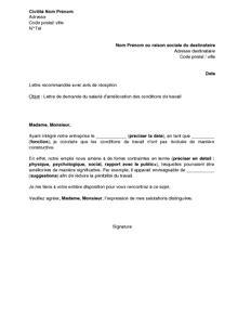 Lettre Demande De Travail Word lettre de demande d am 233 lioration des conditions de travail par le salari 233 mod 232 le de lettre