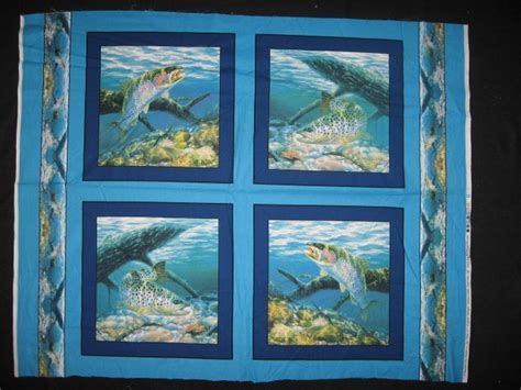 Fabric Pillow Panels by Fish Rainbow Trout Fabric Pillow Panel Set Of Four