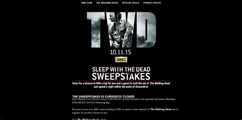 Walkingdead Com Sweepstakes - amc s the walking dead sleep with the dead sweepstakes week 8