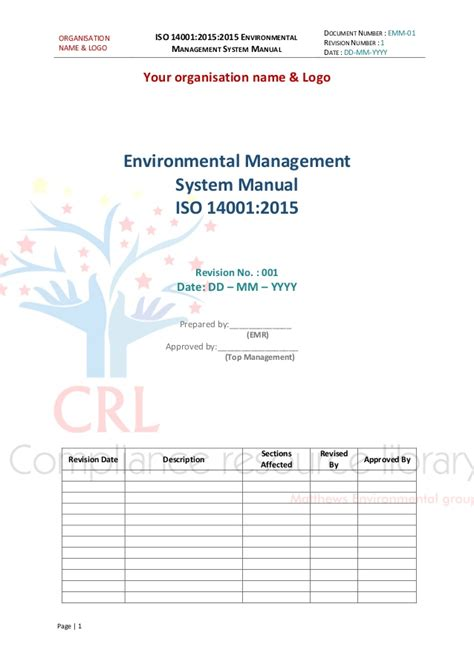 management system template iso 14001 2015 managment system manual sle