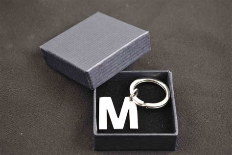 Gift With Letter M Beautiful Sterling Silver Key Ring Letter M Gift Idea