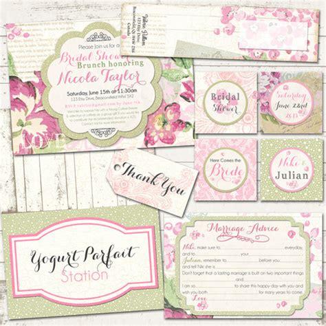 etsy shabby chic bridal shower invitations bridal shower shabby chic pack vintage inspired pinks custom printable on