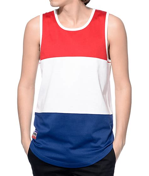 Tank Top empyre three days white and navy block tank top