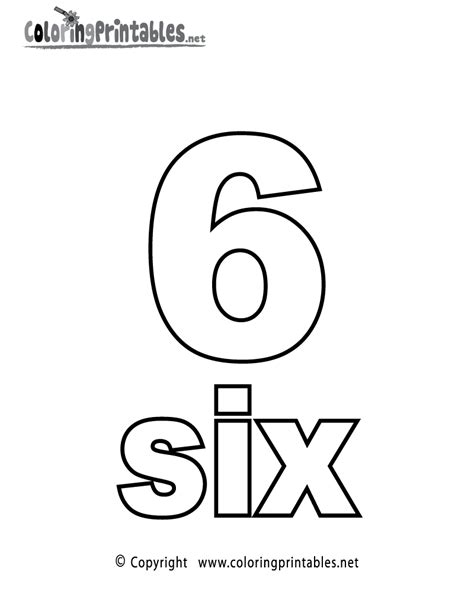 coloring page number 6 number six coloring page printable numbers activities