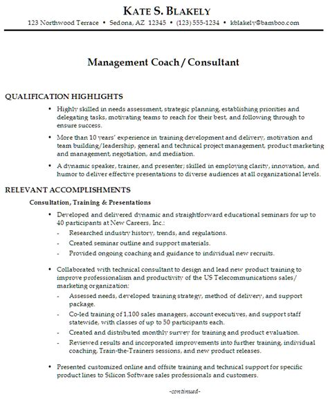 Coaching Resume Template by Functional Resume Sle Management Coach Management