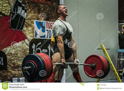 deadlift bench press athlete of powerlifter performs a deadlift editorial photo