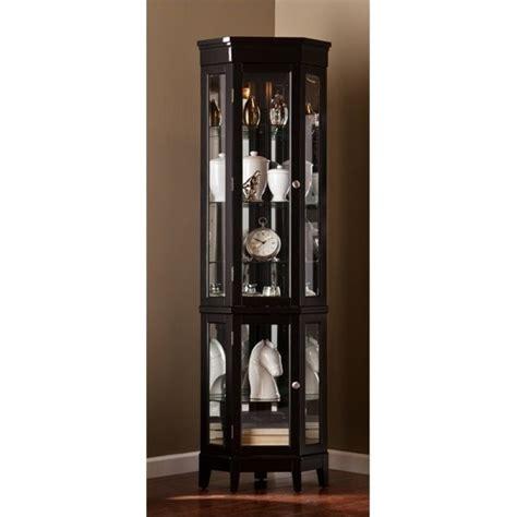 corner kitchen curio cabinet pemberly row corner curio in black pr 627546