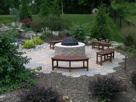 Outdoor Patio With Pit Outdoor Pit With Paving Brick Patio Traditional