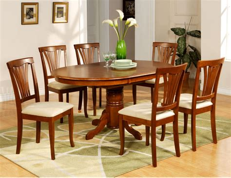 Kitchen Dining Table Sets 7 Pc Avon Oval Dinette Kitchen Dining Room Table With 6 Chairs In Saddle Brown Ebay