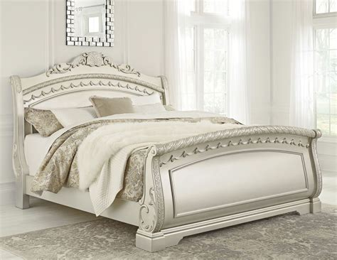 north shore king sleigh bed cassimore north shore pearl silver king sleigh bed from