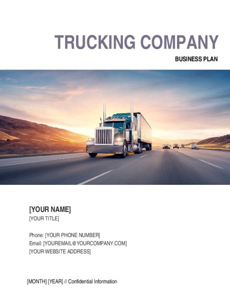 trucking company business plan template sle form