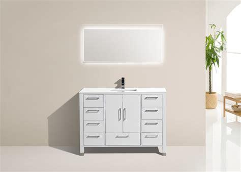 bathroom vanity with quartz top 48 inch high gloss white contemporary bathroom vanity with