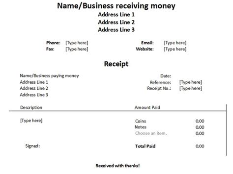 receipts template for word free receipt forms