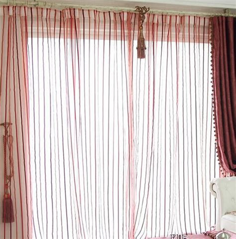 sheer curtain panels with designs quality finished product modern striped simple design red
