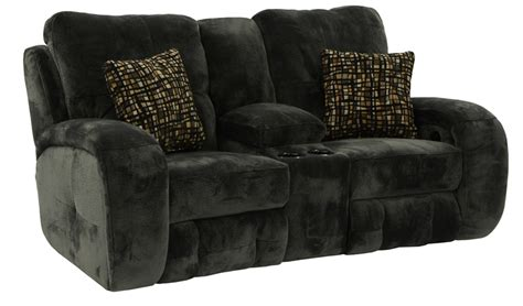 reclining loveseat with console microfiber felton reclining console loveseat in charcoal microfiber