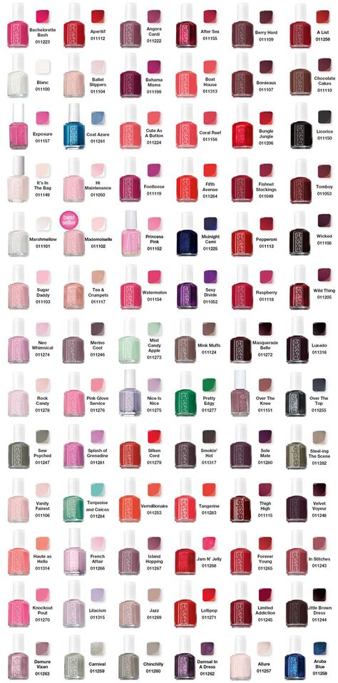 opi nail color chart essie color chart essie nail colors