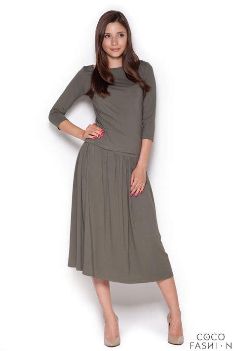 green stylish set 3 4 sleeves blouse midi skirt