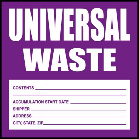 universal waste label l2434 by safetysign