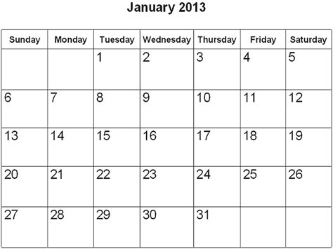 January 2013 Calendar January Calander New Calendar Template Site