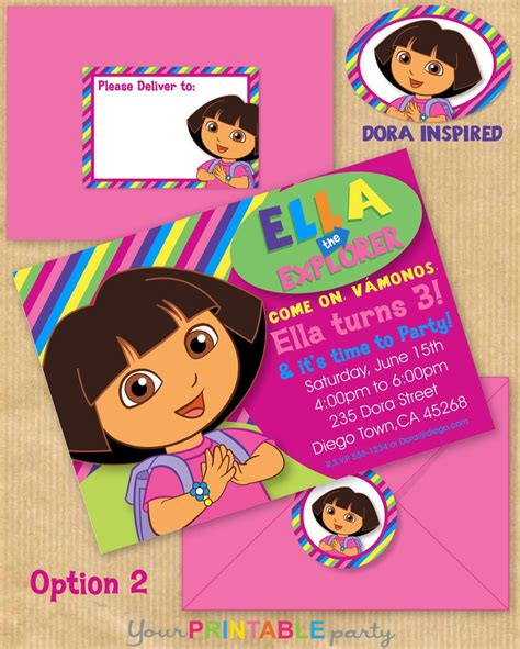 dora the explorer templates for invitations 17 best images about dora the explorer party ideas on