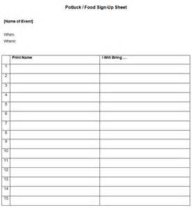 Printable potluck sign up sheet template for christmas new calendar