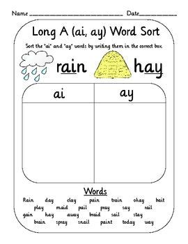 Ai And Ay Worksheets by Vowel Digraph Teams Word Sort Set Oi Oy Ai Ay Ou Ow
