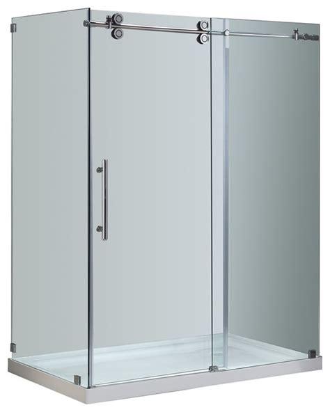 Shower Enclosure With Base Langham 48 Quot X35 Quot X77 5 Quot Frameless Sliding Shower Enclosure