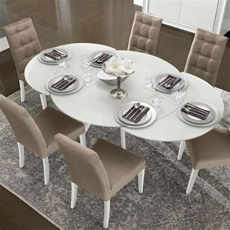 a x spiral modern round white dining table with lazy susan bianca white high gloss glass round extending dining