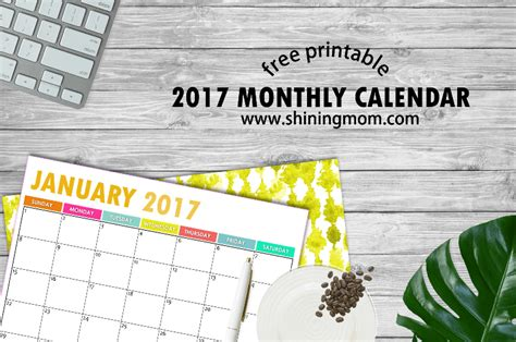 Calendar 2017 Monthly Printable Free The Free Printable 2017 Calendar By Shining