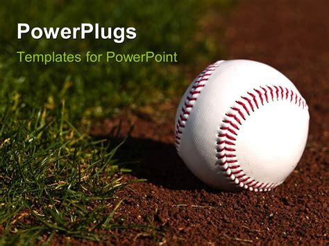 Powerpoint Template New Baseball On Red Dirt Next To Green Grass 2892 Powerpoint Templates Baseball
