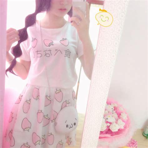 Mini Dress Dress Korea White Sweet Roses L Import Original strawberry harajuku top skirt japan anime kawaii