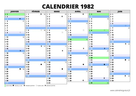 Calendrier De 1982 Calendrier 1982