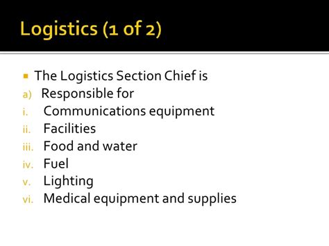 logistics section chief medical incident command powerpoint