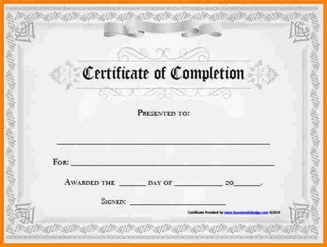 Certificate Of Completion Template by 5 Free Certificate Of Completion Template Budget Template