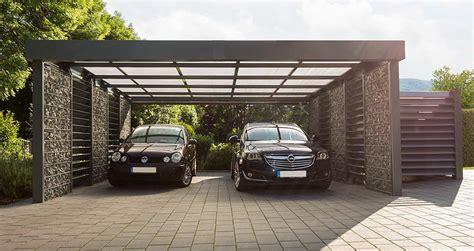 Gabionen Carport Mit Platz F 252 R Zwei Fahrzeuge Garten