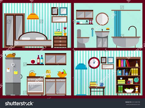 living room bedroom bathroom kitchen furniture set rooms house kitchen living stock vector