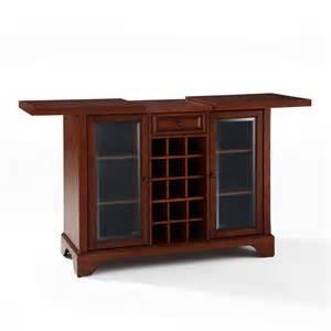 Furniture Bar Cabinet Crosley Furniture Lafayette Sliding Top Bar Cabinet In Vintage Mahogany Efurniture Mart