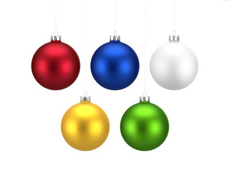 colorful christmas balls set png psdgraphics