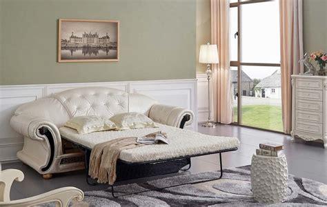 Luxury Sleeper Sofa by Versace Button Tufted Pearl Italian Leather Luxury Sleeper