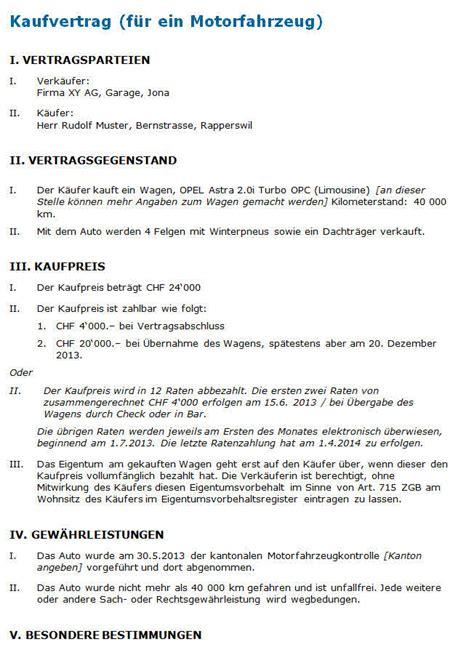 Kaufvertrag Auto Schweiz by Kaufvertrag Gebrauchtwagen Muster Nach Schweizer Recht