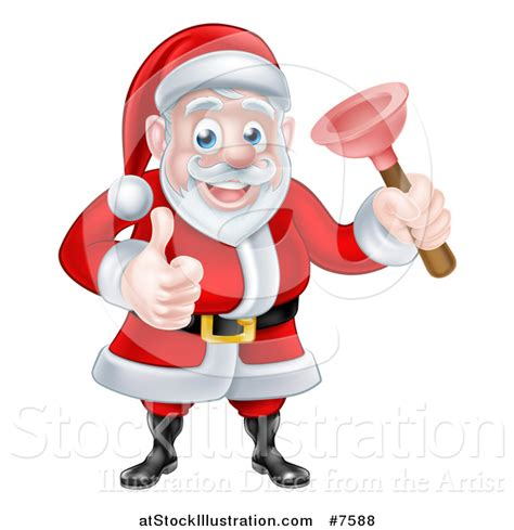 Santa Plumbing by Vector Illustration Of A Happy Santa Claus