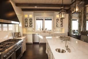 Kitchen Island Pot Rack Lighting Geometric Tile Backsplash Cottage Kitchen Southern