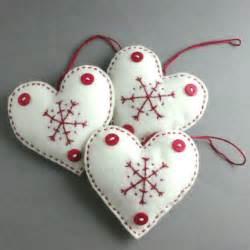 christmas decorations scandinavian felt heart set folksy