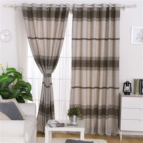 horizontal curtains horizontal striped linen cotton modern style bedroom curtain
